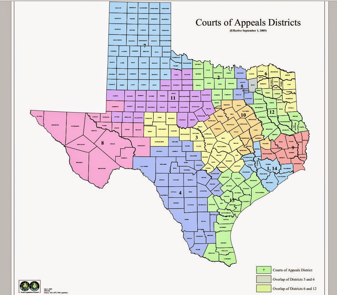 Map Of Texas District 6.Tex App Intermediate Courts Of Appeals And Corresponding