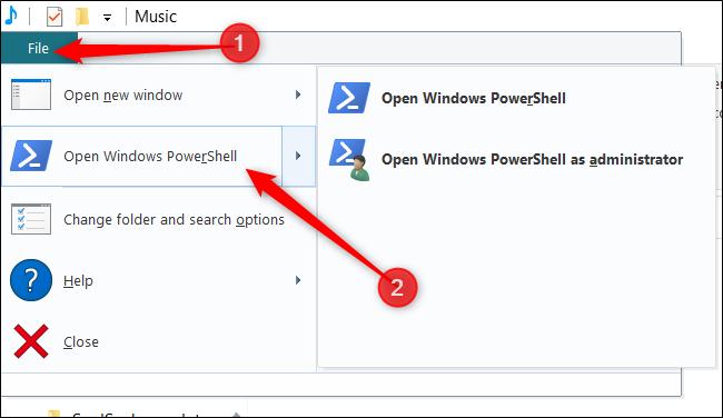 """انقر فوق """"ملف"""" ، ثم مرر فوق """"فتح Windows PowerShell"""" ، ثم انقر فوق الخيار المفضل لديك."""