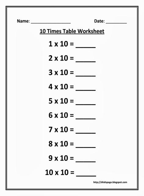 Kids Page: 10 Times Multiplication Table Worksheet