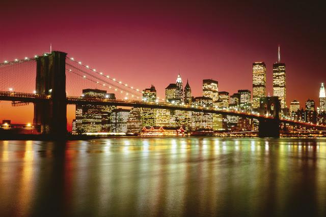 Manhattan Skyline at Night Tapetti