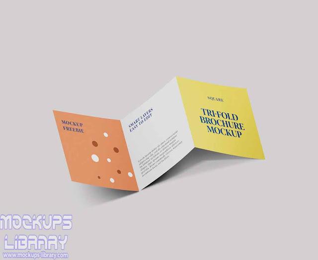 square trifold brochure mockup psd