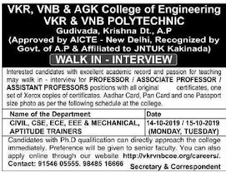 Assistant Professor Jobs 2019 Recruitment VKR, VNB & AGK College of Engineering/Polytechnic, Gudivada, Walk-Interview