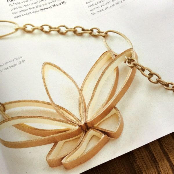 Quilled Petal Power Lariat Necklace from The Art of Quilling Paper Jewelry shown in Making Jewellery magazine