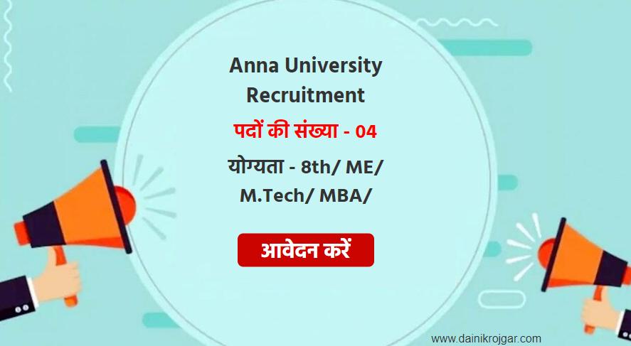 Anna University Associate, Technician 04 Posts