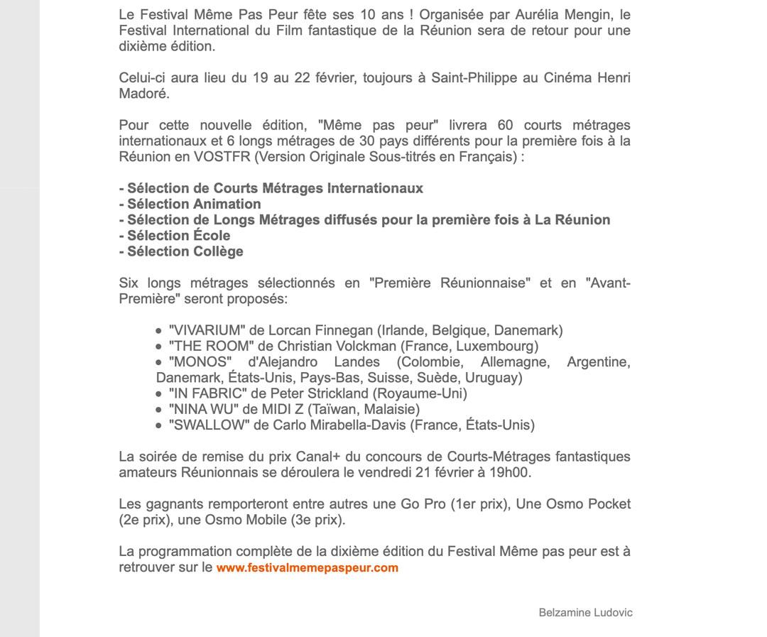 La Sélection Officielle du 10ème Festival MEME PAS PEUR dans MEGAZAP
