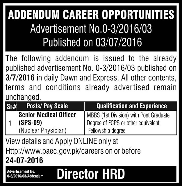 Jobs in Pakistan Atomic Energy Commission Jobs 2016