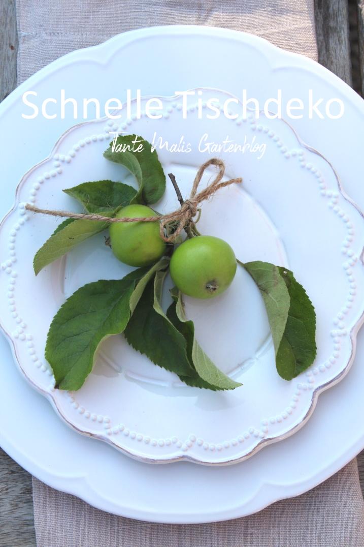 schnelle Sommerdeko für den Tisch mit Äpfeln