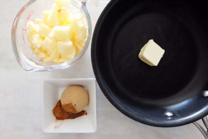 prepping apple ingredients