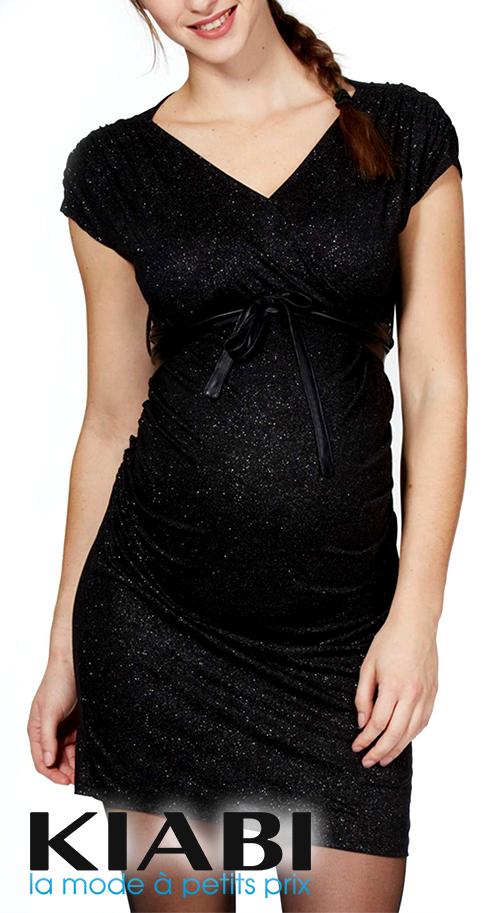 Robe de soirée grossesse courte noire sans manche pailletée KIABI