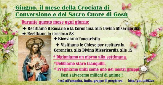 ❥═══♥ Giugno mese della Crociata di Conversione e del Sacro Cuore di Gesù