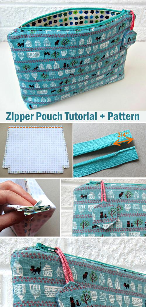 Flat Bottom Zippy Pouch. Tutorial + Pattern