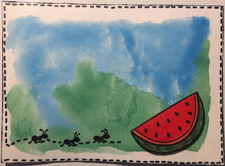 Ants and watermelon ATC (Artist Trading Card)