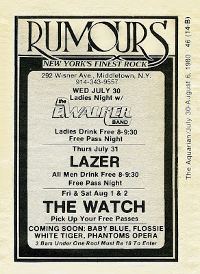 Rumours rock club band line up from the Aquarian August 1980