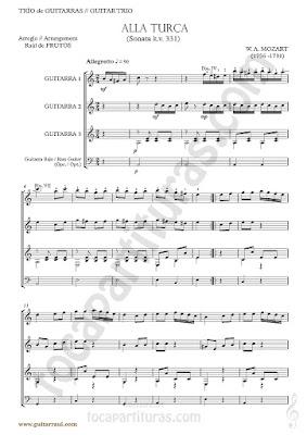 Marcha Turca Partitura de Trio de Guitarra y guitarra bajo Guitar Sheet Music for three guitars