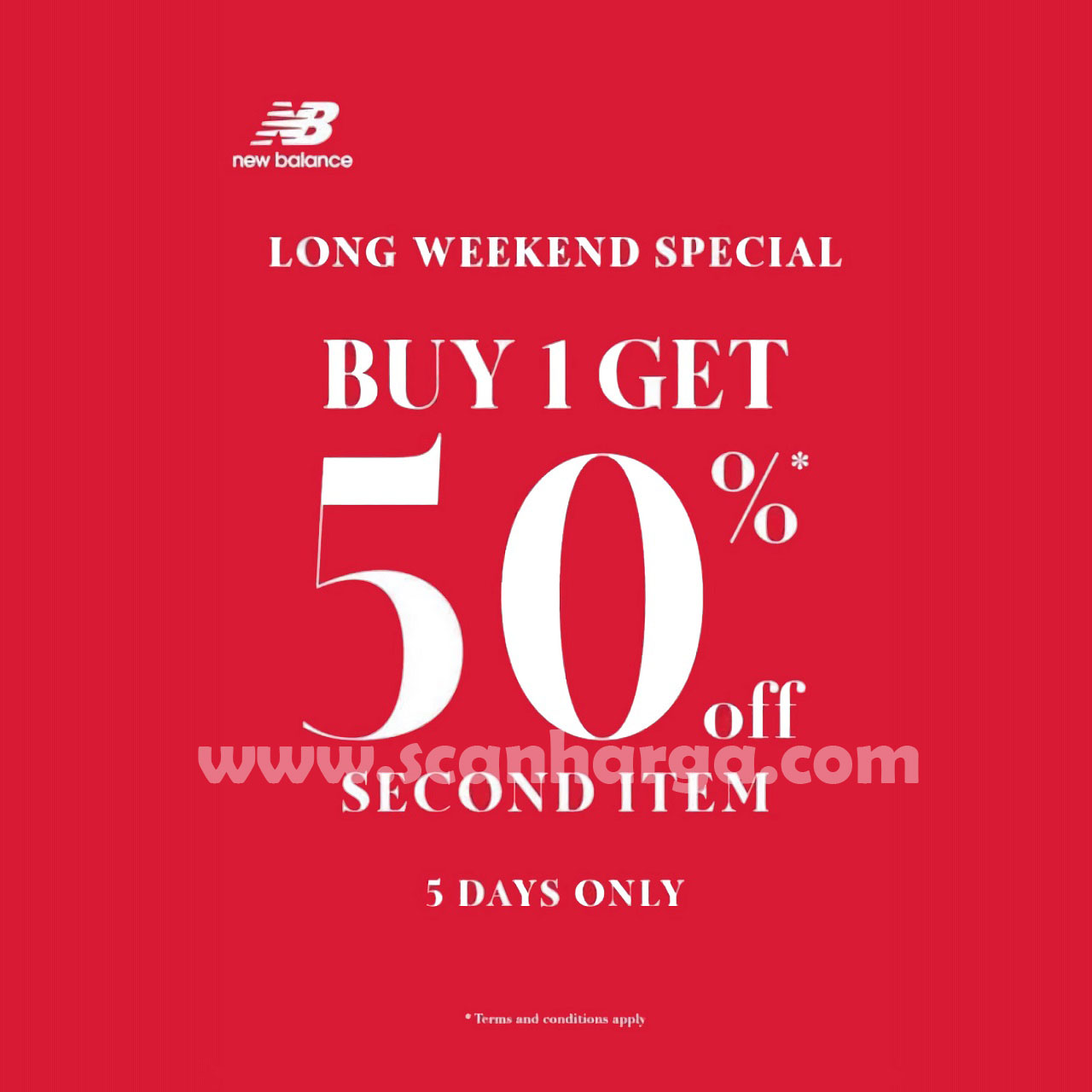 Promo New Balance Special Long Weekend  – Buy 1 Get 50% Off