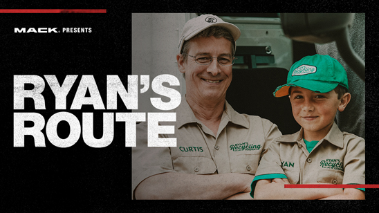 The Ryan's Route episode on RoadLife.tv follows Ryan Hickman (right), the 8-year-old owner of Ryan's Recycling, as he trades in the family pickup for a fully equipped Mack LR refuse model driven by Curtis Dorwart (left), Mack refuse product manager.