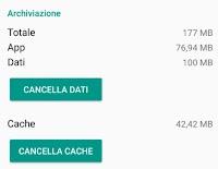 Cancellare Cache e Dati delle app su Android; come e cosa significa