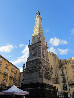 Vaccaro's obelisk in the Piazza di San Domenico Maggiore in the heart of Naples