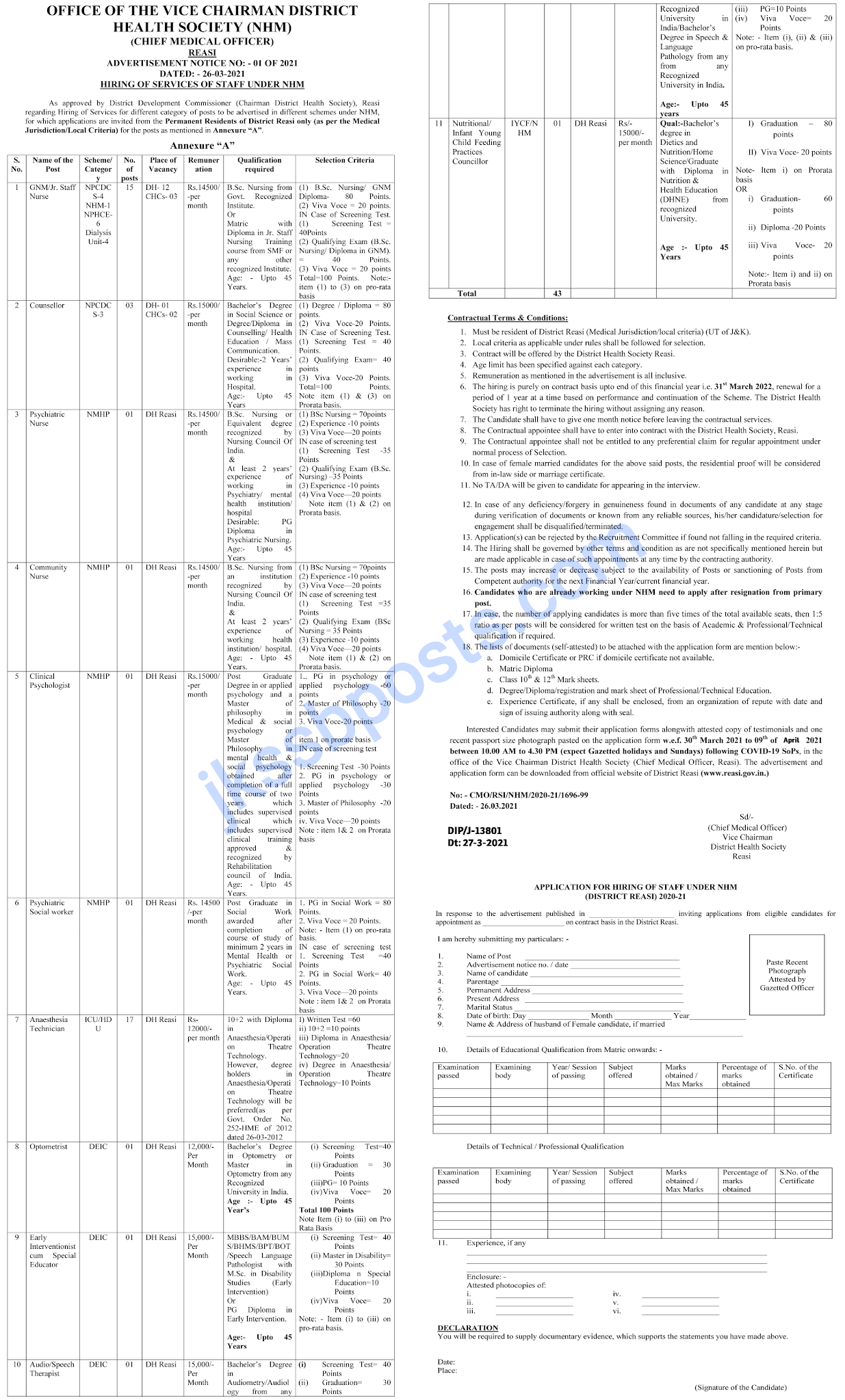 Jobs in District Health Society, Reasi