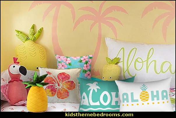 tropical pillows tropical bedding tropical decor  Tropical beach style bedroom decorating ideas - beach bedrooms - surfer theme rooms - tropical theme Hawaiian style decorating - raffia valance window ideas - tropical bedding - tropical wall murals - palm trees decor - tropical bedroom decorating ideas - tropical furniture - tropical baby nursery decorating