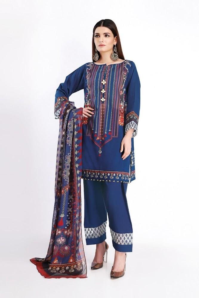 Khaadi Blue shirt & Shalwar with Dupatta summer lawn collection