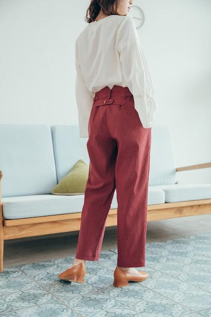 長腿先生口袋造型長褲-酒紅朱雀