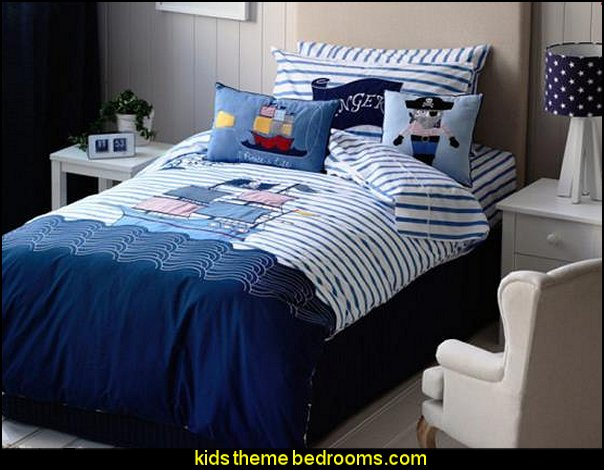 Pirate Ship on The Sea bedding pirate theme bedroom decorating