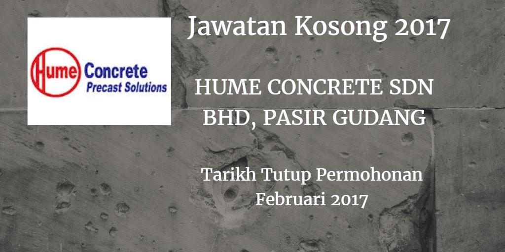 Jawatan Kosong HUME CONCRETE SDN BHD, PASIR GUDANG Februari 2017