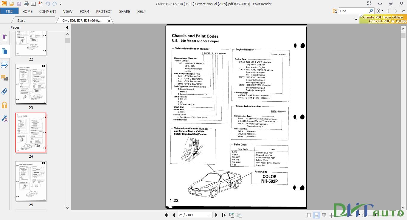 Civic EJ6, EJ7, EJ8 (96-00) Service Manual Language: English Size: 69 Mb  Format: PDF