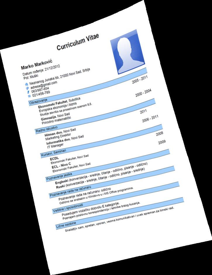 Format Curriculum Vitae Cv Yang Benar