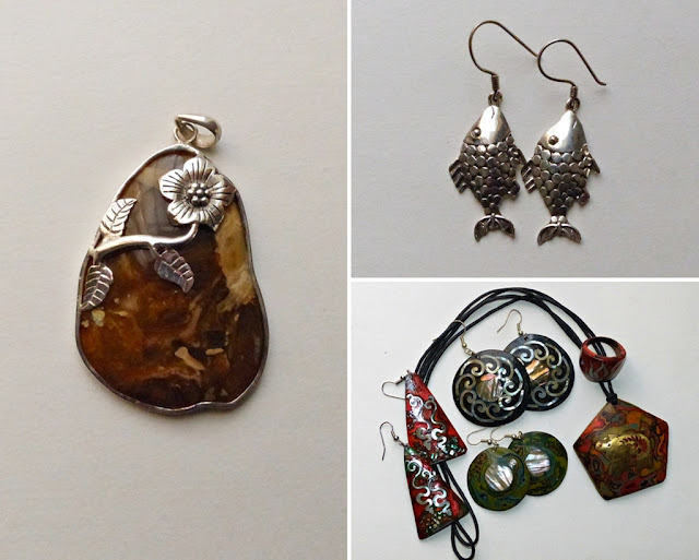 Jewelry from Vietnam: silver marble pendant, lacquered coconut earrings, necklace and ring, silver fish earrings