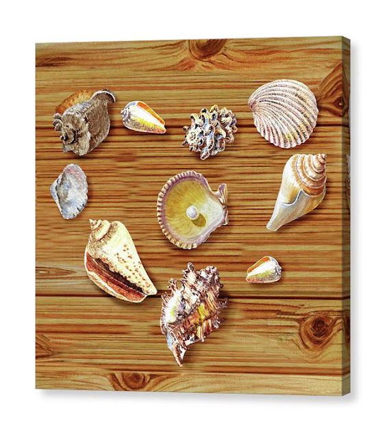 Watercolor Painting Of Shells and Pearl in shape Of Heart painting by Irina Sztukowski