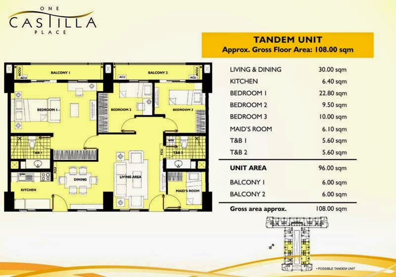 One Castilla Place 3 Bedroom Tandem Unit