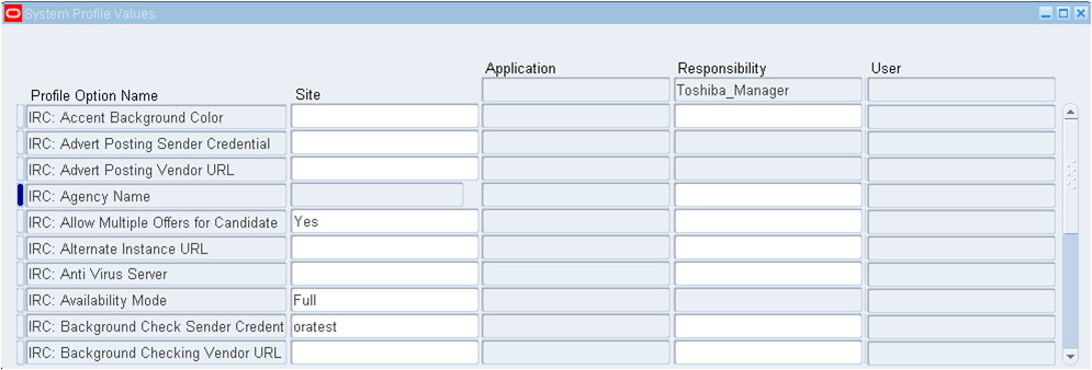 Oracle Apps HRMS : Profile Options for Irecruitment