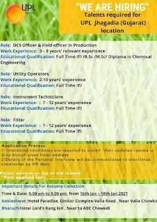 ITI /B.Sc /M.Sc/ Diploma Candidates Job Vacancy in UPL Jhagadia, Gujarat For Various Positions
