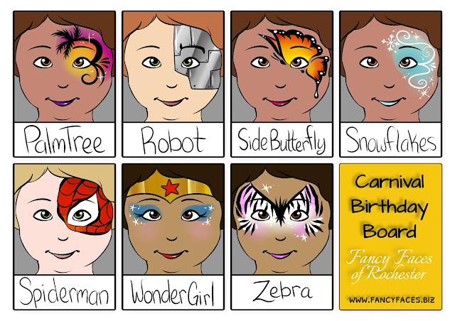 Page 2 of the carnival menu of face painting ideas for both boys and girls