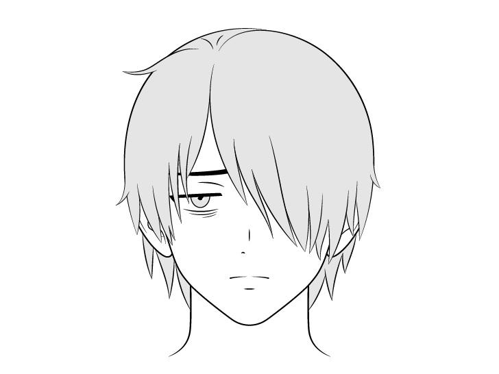Anime pria penyendiri menggambar wajah lelah