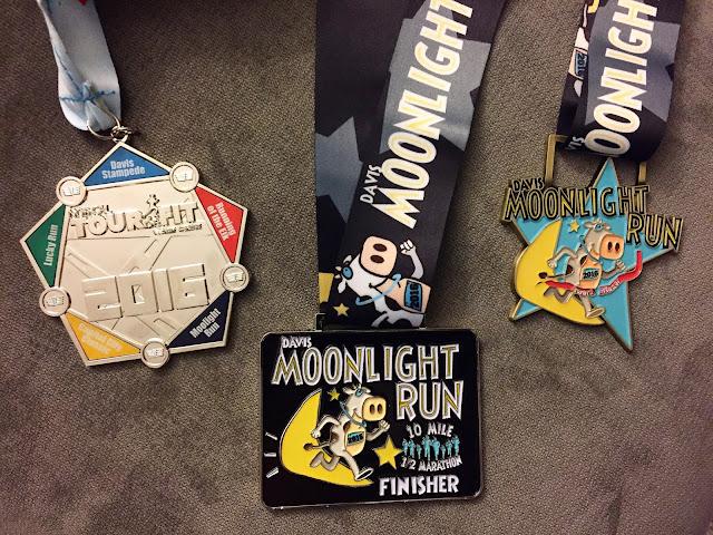 Davis Moonlight Run Half Marathon medals 2016