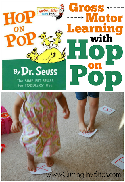 Active game for kids that can be adapted for whatever your toddler or preschooler is learning-- numbers, letters, sight words, colors, or shapes. Also great for a Dr. Seuss theme unit.