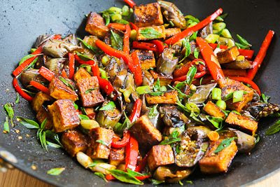 Sriracha-Spiced Stir-Fried Tofu with Eggplant, Red Bell Pepper, and Thai Basil found on KalynsKitchen.com