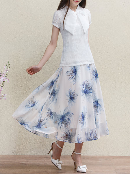 WUWANGHUA  Light Blue Floral Floral-print Elegant Midi Skirt – Price:$ 39.00