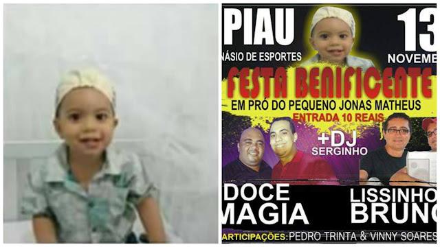 Festa benificente do pequeno Jonas Mateus acontece neste domingo(13) no Distrito do Piau em Piranhas