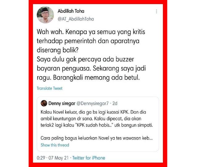 Abdillah Toha: Saya Dulu Tidak Percaya Ada Buzzer Bayaran Penguasa, Netizen: Baru Siuman Pak?