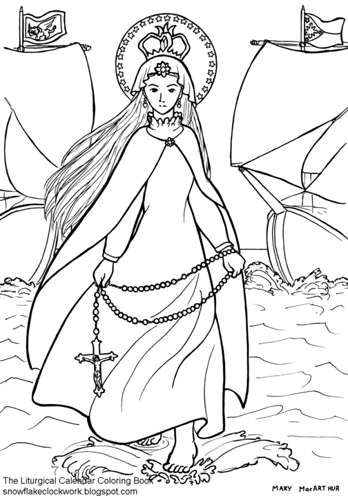 Snowflake Clockwork: Holy Family coloring page, December