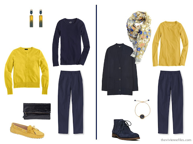 How to wear navy and gold together - two ideas