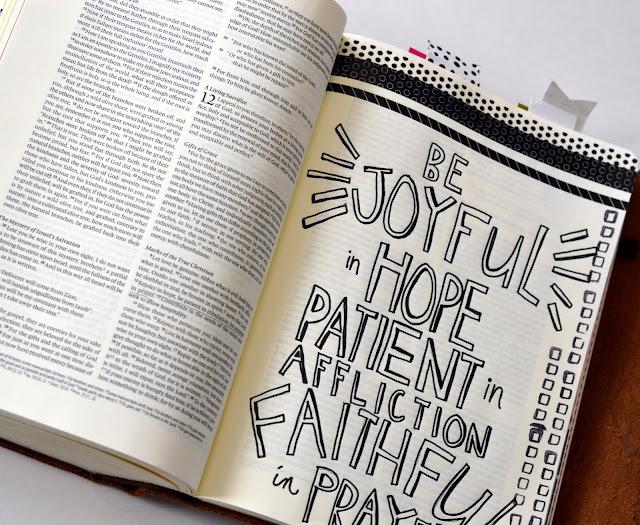 washi stickers, black and white, bible journaling