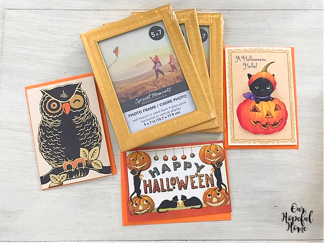 owl greeting card Happy Halloween card black cat Halloween card gold frames