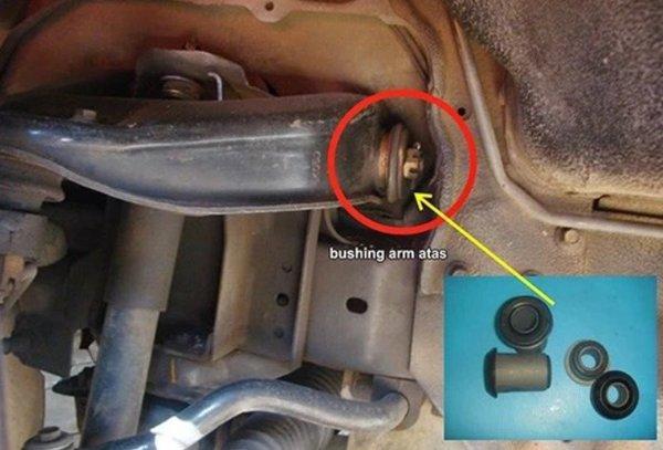 kerusakan pada komponen karet bushing arm mobil