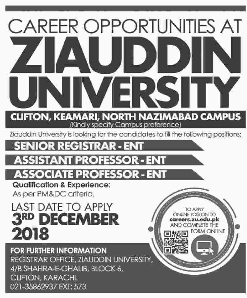 Ziauddin University Jobs