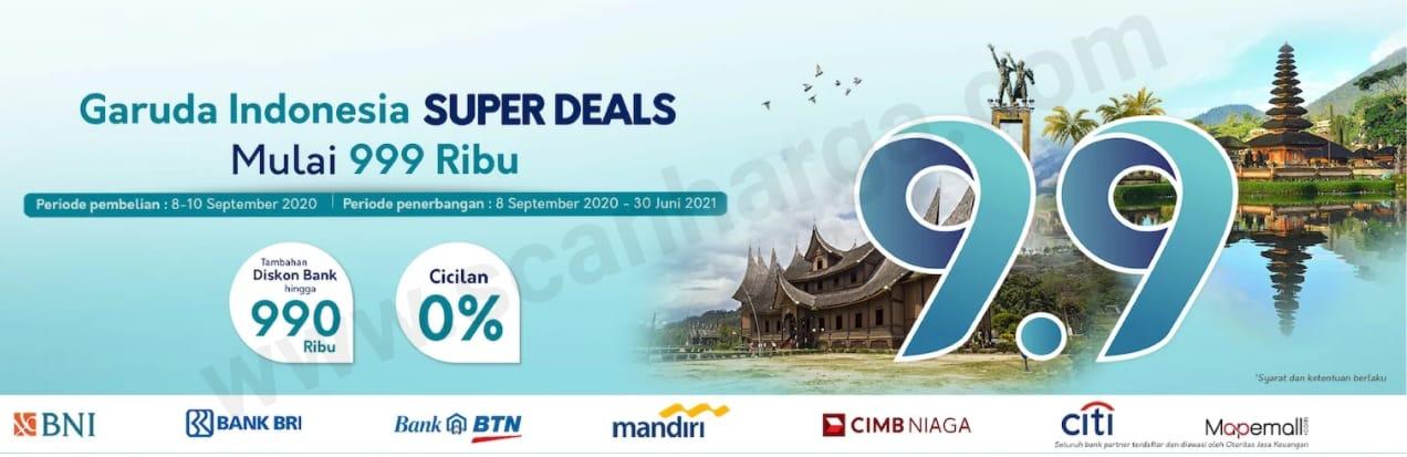 Garuda Indonesia Promo Super Deal 9.9 Mulai Rp 999.000 + Diskon Bank hingga 990Rb